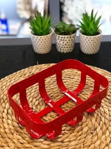 Naturel Galvaniz Dikdörtgen Sepet Kırmızı Kırmızı
